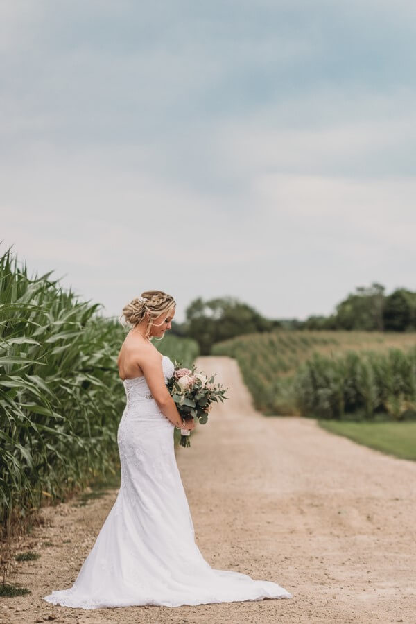 Bride looking down at her bouquet standing on a road in a corn field.