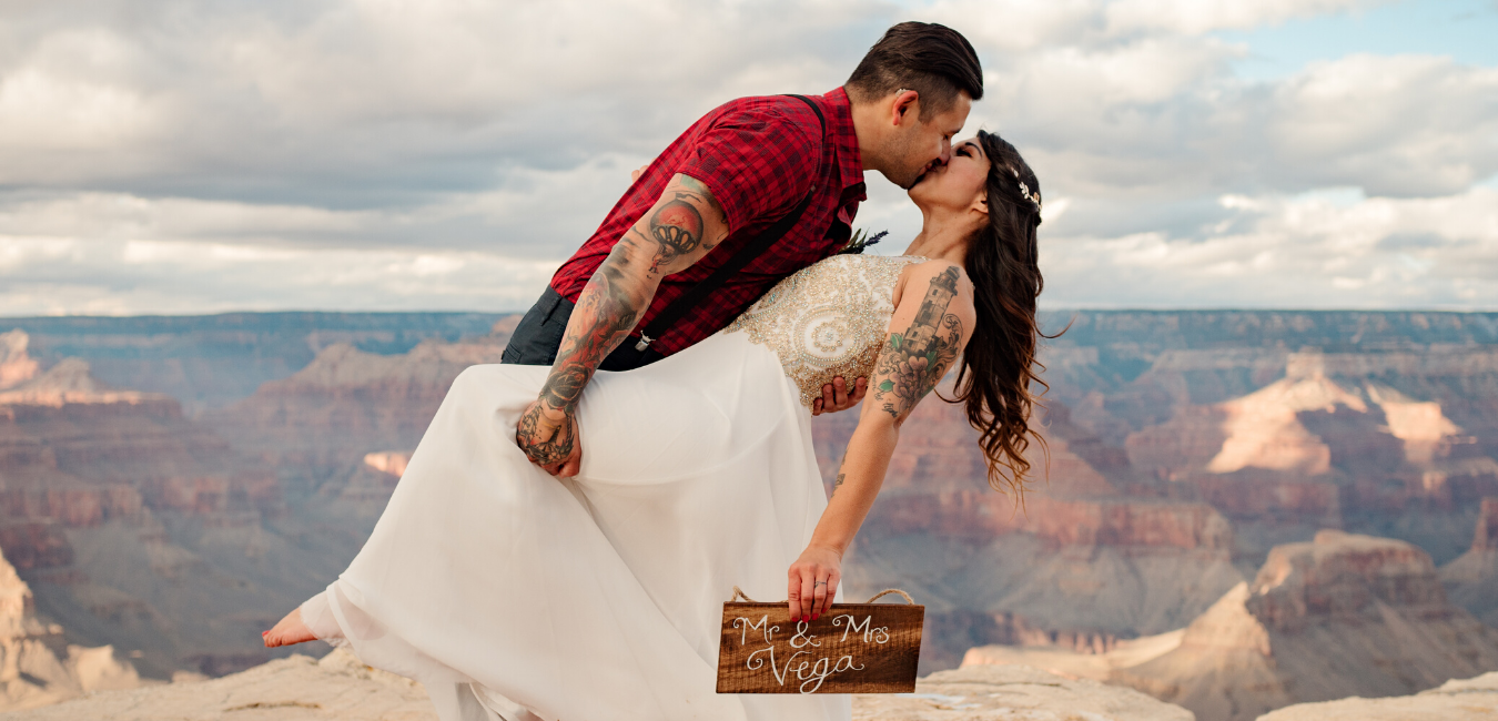 Tattooed couple elopement wedding in the mountains